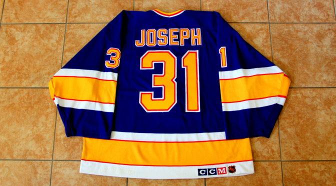 1992-93 St. Louis Blues Jersey, Set 2 Playoffs, Away – Curtis Joseph