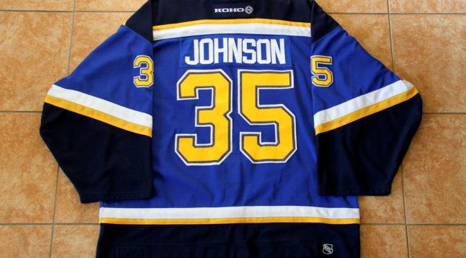 2003-04 St. Louis Blues Jersey, Set 1 Home – Brent Johnson